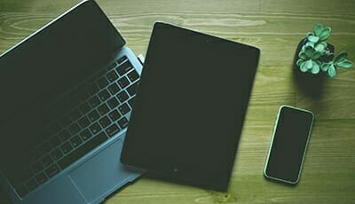 a computer, tablet and phone